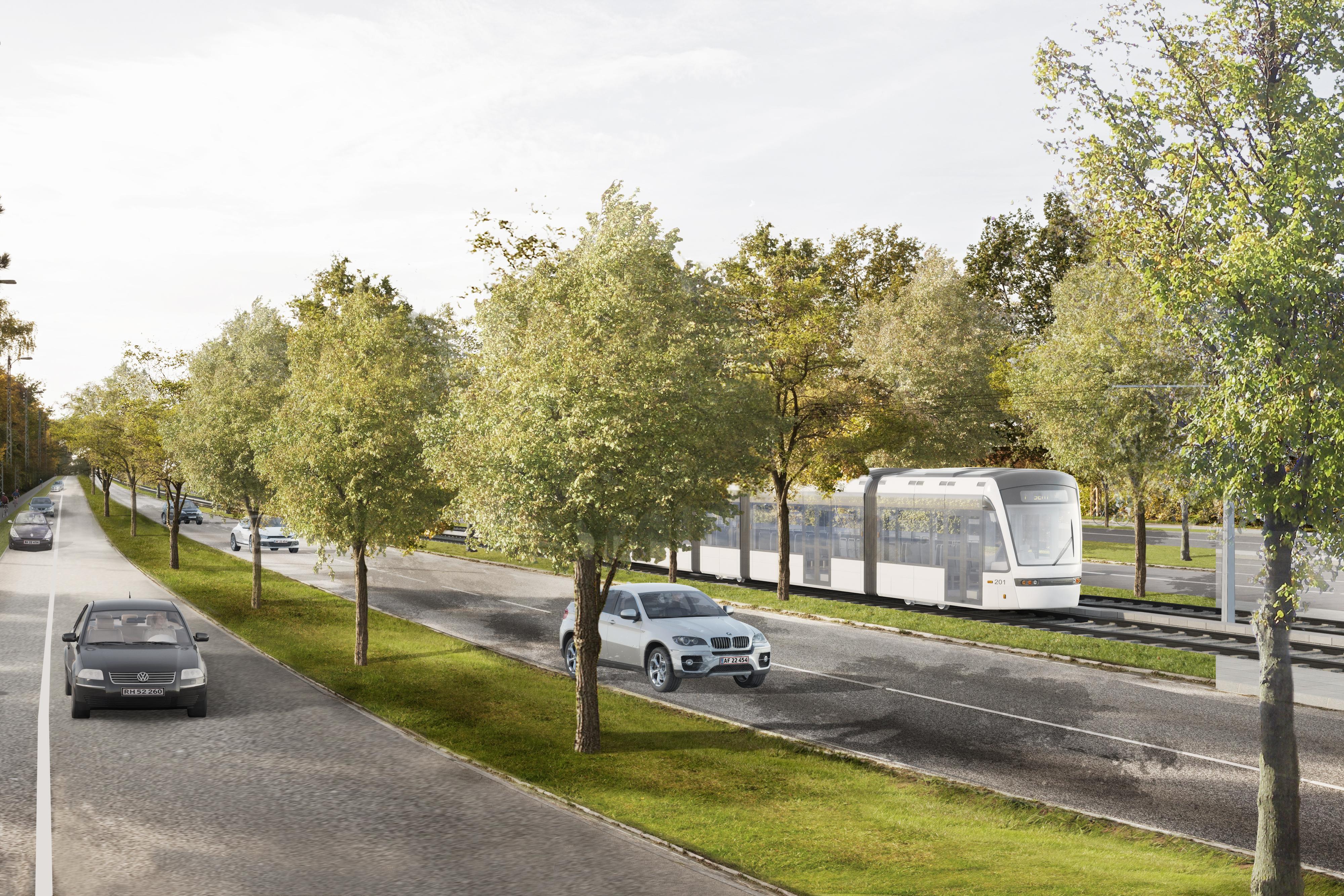 Visualisering af letbanen gennem Gladsaxe. Foto: Hovedstadens Letbane.